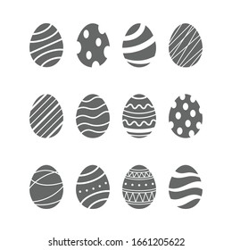 Happy Easter. Easter eggs icons set. Vector illustration