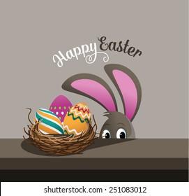 Happy Easter eggs and peeking bunny EPS 10 vector royalty free stock illustration for greeting card, ad, promotion, poster, flier, blog, article