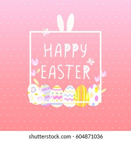 Happy Easter With eggs, Rabbit. Square poster. Vector illustration templte. Wallpaper, flyers, brochure,voucher