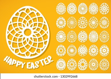 Happy Easter eggs set in paper art style on yellow background. Templates for laser cutting. Vector illustration