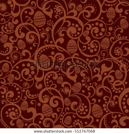 Elegant Brown Color Background With Egg Cute Easter Pattern Vector Illustration