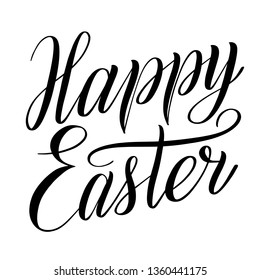 Happy Easter. Elegant design element for greeting cards. Black isolated cursive. Brush pen lettering. Calligraphic style. Hand written inscription. Vector holiday script.