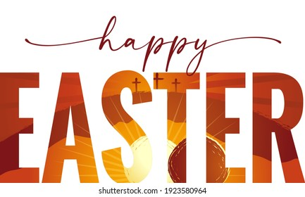 Happy Easter elegant lettering with Calvary and cave on background. Easter Sunday, holy week greeting card with sunrise and three cross. Vector illustration