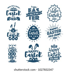 Happy easter emblem set typography style isolated on background for greeting card text templates, label, badges, decoration, sale banner, party, poster, promotion, tag, decoration. Vector Illustration
