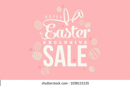 Happy Easter Exclusive Sale text as Pascha logotype, badge and icon,postcard, invitation, poster, banner template, lettering, typography