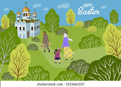 Happy Easter. Family with a child going to an Orthodox church to consecrate eggs and cakes past the trees and bushes . Horizontal Vector illustration