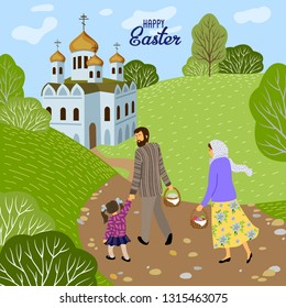Happy Easter. Family with a child going to an Orthodox church to consecrate eggs and cakes. Vector illustration