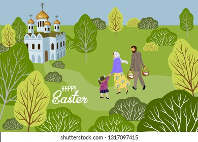 Happy Easter. Family with a child going to an Orthodox church to consecrate eggs and cakes. Horizontal Vector illustration