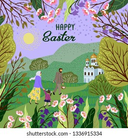 Happy Easter. Family with a child going to an Orthodox church to consecrate eggs. Vector cute illustration