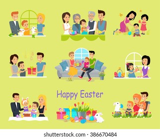 Happy easter family set design. Bunny and spring happy holiday illustration