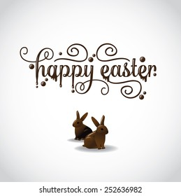 Happy Easter in fancy chocolate lettering with two chocolate bunnies. EPS 10 Vector royalty free stock illustration for greeting card, marketing, poster, design, blog, invitation, social media