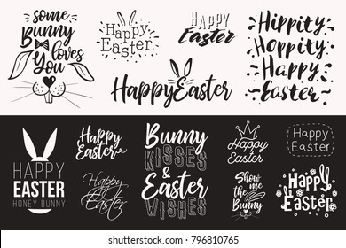 Happy Easter. Fantasy hipster font collection with happy easter lettering for decoration design. Black typography design set isolated on white background