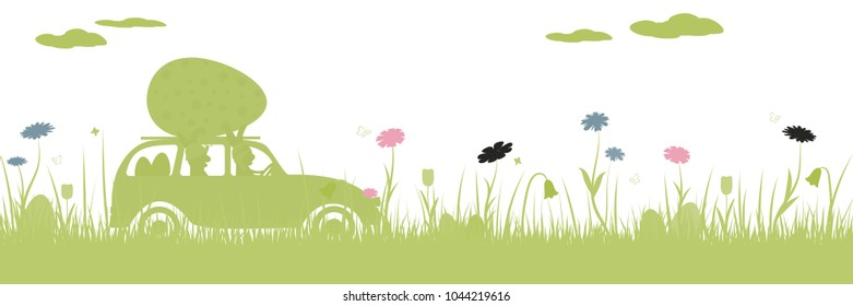 Happy Easter. Field with two rabbits in car, Easter eggs, butterfly and flowers.