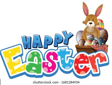 Happy Easter font design with easter bunny and eggs illustration