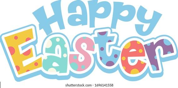 Happy Easter font design on white background illustration