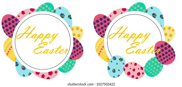 Happy Easter Frames Colorful Easter Eggs Stock Vector (Royalty Free ...