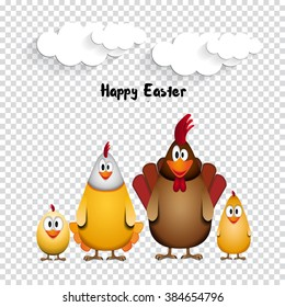 Happy Easter - Funny chicken family - vector illustration on transparent background