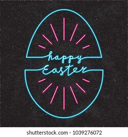 Happy Easter Glowing Neon Light Style Logo with Sun Rays and Egg Shape Outline Combined with Lettering - Turquoisre and Red Elements on Black Rough Paper Background - Hand Drawn Doodle Design