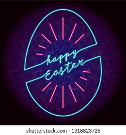 Happy Easter Glowing Neon Sign Style Slanted Logo and Egg Shape Outline Combined with Lettering - Blue and Red Elements on Dark Decorative Plaster Background - Vector Hand Drawn Design