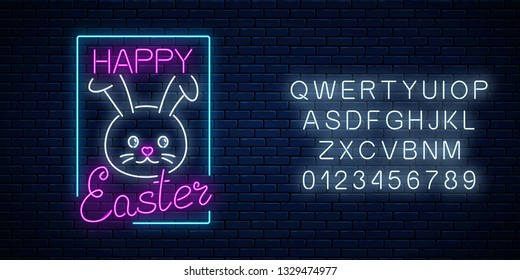Happy easter glowing signboard with bunny and lettering with alphabet in neon style on dark brick wall background. Easter bunny greeting banner. Vector illustration.