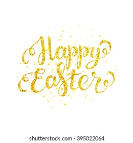 Happy easter gold lettering with gold spray for greeting card, poster, banner, printing, mailing, flyer / vector illustration