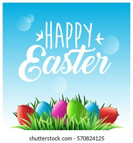 Happy Easter. Green grass and colorful eggs, blue spring sky. Lettering with birds. Holiday background for design. Vector illustration