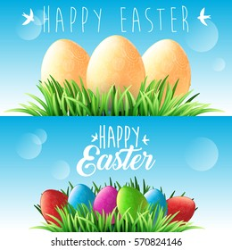 Happy Easter. Green grass and colorful eggs, blue spring sky. Lettering with birds. Holiday background for design. Horizontal web banners. Vector illustration
