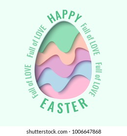 Happy Easter greeting card. 3d paper cut easter egg concept design background. Vector illustration. Paper carving egg shape with shadow