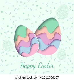 Happy Easter greeting card. 3d paper cut two easter eggs holiday background. Vector illustration. Paper carving egg shape with shadow