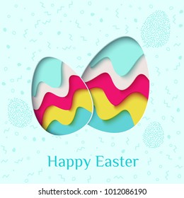 Happy Easter greeting card. 3d paper cut easter eggs holiday background. Vector illustration. Paper carving egg shape with shadow