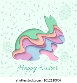 Happy Easter greeting card. 3d paper cut easter rabbit bunny holiday background. Vector illustration. Paper carving bunny shape with shadow