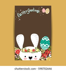 Happy Easter greeting card Brown Background