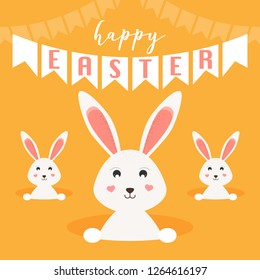 Happy Easter greeting card. Easter bunnies/rabbits. Vector Illustration.