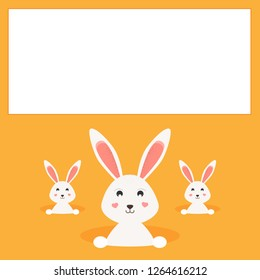 Happy Easter greeting card. Easter bunnies/rabbits.Place for your text, copy space. Vector Illustration.