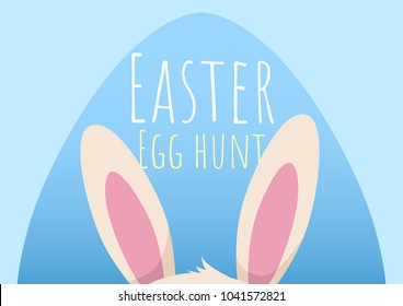 happy easter greeting card with bunny  and easter egg, easter egg hunt template, vector illustration