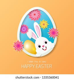 Happy Easter greeting card with Bunny - Vector
