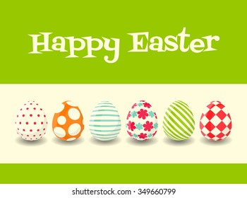 Happy Easter Greeting Card. Colorful Easter eggs. Vector Illustration.