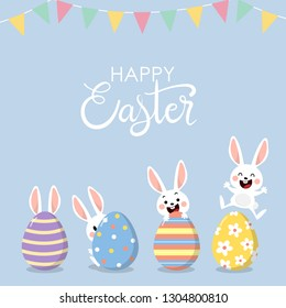 Happy Easter greeting card with cute white bunny and eggs. Welcome spring season with rabbit. Animal wildlife holiday cartoon character. -Vector.