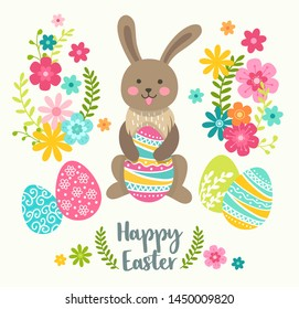 Happy Easter greeting card with cute Easter cartoon character rabbit and design elements. Easter bunny, eggs and flowers. Vector illustration