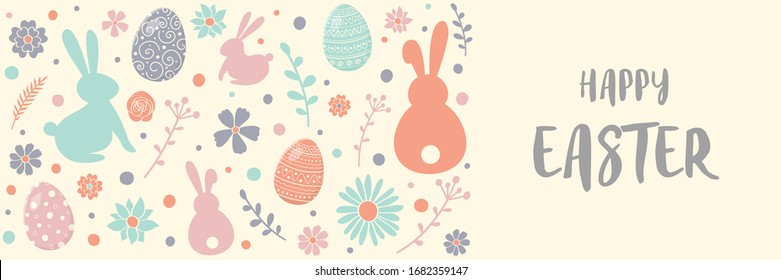 Happy Easter. Greeting card with decorative eggs, bunnies and flowers on white background. Banner. Vector