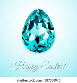 Happy Easter greeting card design with creative crystal easter egg on light background and sign Happy Easter, vector illustration.