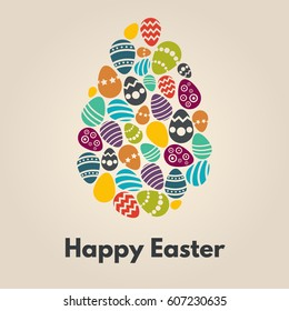 Happy Easter greeting card with egg on background.