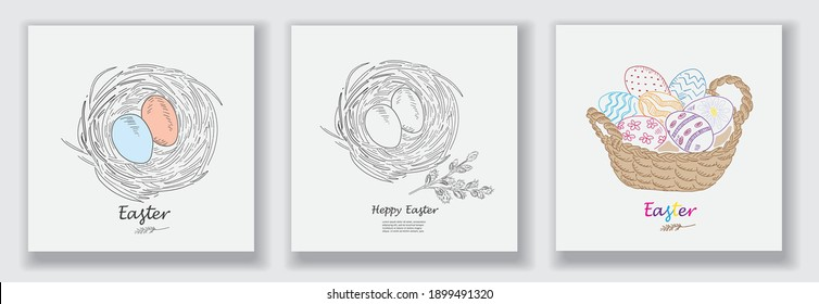 Happy Easter greeting card with eggs. Vector illustration. Vintage design hand drawn sketch. Line art style.