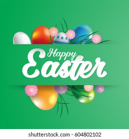 Happy easter greeting card with eggs. Vector illustration for Easter day