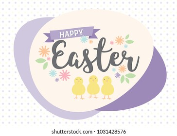 Happy Easter greeting card with flowers and chicks on yellow and purple polka dot background. Vector illustration with seasonal springtime colours.