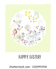 Happy Easter greeting card with flowers and bird, vintage design. Vector graphic illustration