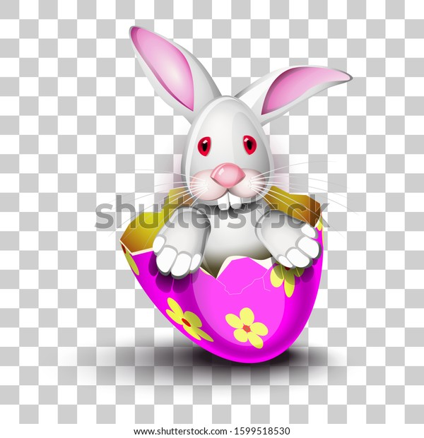 Happy Easter greeting card, a funny rabbit is driving a decorated egg shell over a pruple background