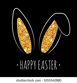 Happy Easter greeting card with gold cute bunny ears. Vector illustration. Glitter rabbit ears with gold shine