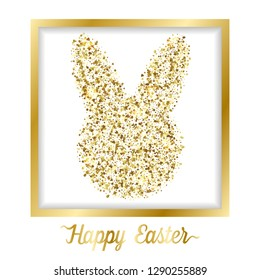 Happy Easter greeting card with golden easter glitter objects on white background. Luxury gold rabbit holliday postcard, template with text place.