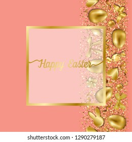 Happy Easter greeting card with golden easter objects and glitter on coral background. Luxury holliday postcard, template with text place.